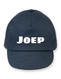 Donkerblauwe cap met naam