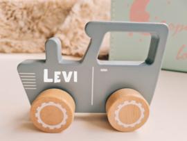 Little dutch blauwe/grijze tractor met naam