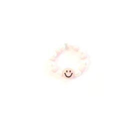 Trendy Smiley Ring   Licht Roze