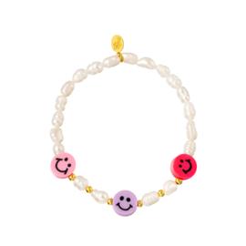 Armbandje Smiley & Pearls | Purple & Pink
