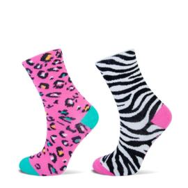 Meisjes enkelsok panter/zebra