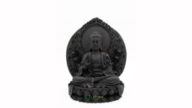 Boeddha Zwart Zittend op Lotustroon voor Wand