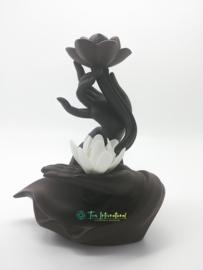 Backflow Wierookbrander Handen met Bloem en Lotus