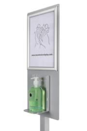 Desinfectie zuil voor handpomp – Zilver - Geschikt voor Vloeistof/Gel – Presentatiescherm – Modern design - DDC.5