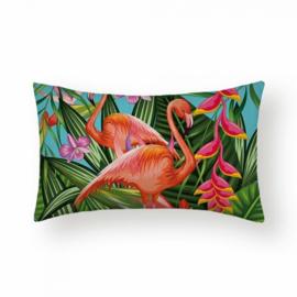 Sierkussen Amazone Flamingos Long Multikleur 30x50cm