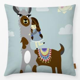 Kinderkussen Alpaca Multikleur/Turquoise
