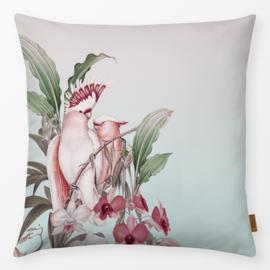 Sierkussen Kaketoe in het Paradijs  Roze/Turquoise