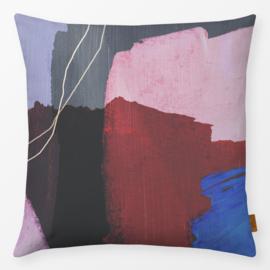 Sierkussen Abstracte Penseelstreken Paars/Multikleur