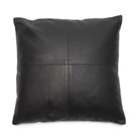 Sierkussen Natuurlijk 'The Four Leather Panel L' Zwart 60x60cm