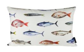 Sierkussen Lots of Fish Multileur/Crème 60x40cm