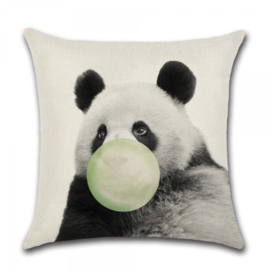 Sierkussen Animal Party Panda Groen 45x45cm
