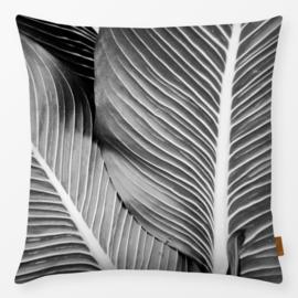 Sierkussen Tropische Bladeren Zwart/Grijs