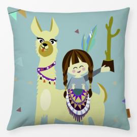 Kinderkussen Alpaca Cactus Multikleur/Turquoise