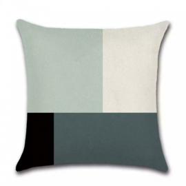 Sierkussen Bright Ellis Long Zwart/Wit/Groen 45x45cm