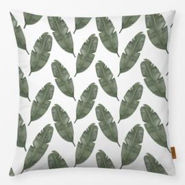Sierkussen Banana Leaf Groen/Wit