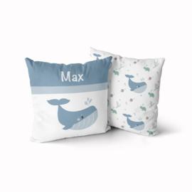 Kinder Naamkussen Walvis Blauw/Groen/Wit 40x40cm