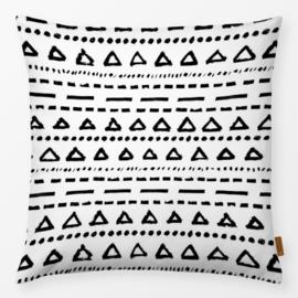 Sierkussen Etnische Driehoeken Strepen Zwart/Wit