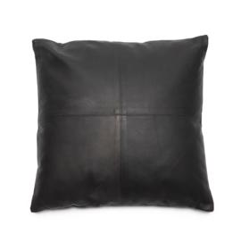 Sierkussen Natuurlijk 'The Four Leather Panel M' Zwart 40x40cm