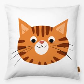 Kinderkussen Vriendelijke Kat Oranje/Wit
