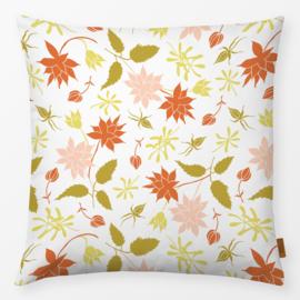 Sierkussen Bloemen & Oranje Bladeren Goud/Oranje