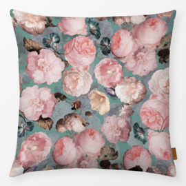 Sierkussen De Heem Vintage Roses Roze/Turquoise