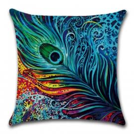 Sierkussen Peacock Bright Blauw 45x45cm