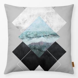 Sierkussen Geometrische Texturen Grijs/Turquoise