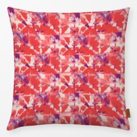 Sierkussen Shibori Lilac/Rood