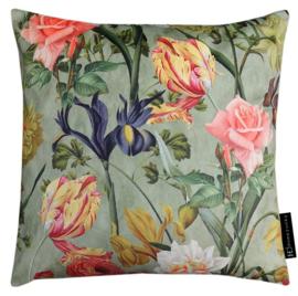 Sierkussen Dutch Flowers Velours Multikleur/Oker 50x50cm