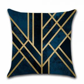 Sierkussen Lines Rianne Blauw/Zwart/Goud 45x45cm