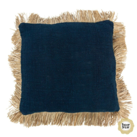 Sierkussen Natuurlijk 'The Saint Tropez' Blauw/Natural 50x50cm