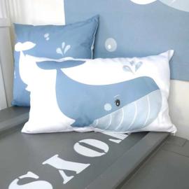 Kinderkussen Walvis in de oceaan Blauw/Wit 50x30cm