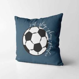 Kinderkussen Voetbal Blauw/Wit 40x40cm