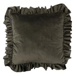 Sierkussen Velvet Ruffle Groen 50x50cm