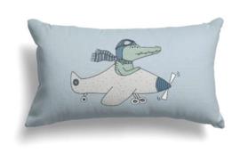 Kinderkussen Cheetah & Krokodil Blauw/Groen 50x30cm