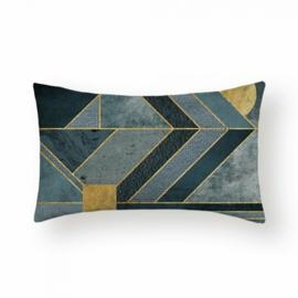 Sierkussen Lines Ruby Long Blauw/Goud/Groen 30x50cm