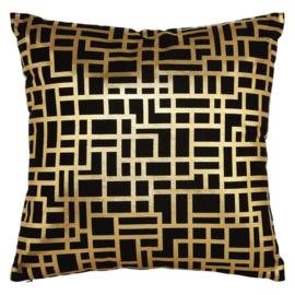 Sierkussen Satoni Black & Gold  Goud/Zwart 45x45cm