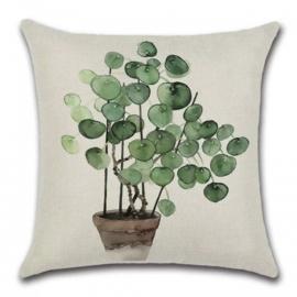 Sierkussen Plant Pannenkoek Groen/Bruin 45x45cm