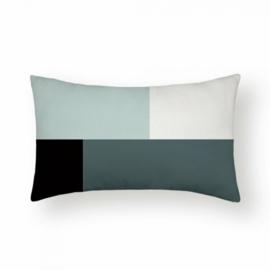 Sierkussen Bright Ellis Long Zwart/Wit/Groen 30x50cm
