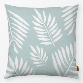 Sierkussen Tropische Bladeren Turquoise/Wit