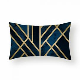 Sierkussen Lines Rianne Long Blauw/Zwart/Goud 30x50cm