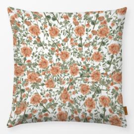 Sierkussen Bloemen Oranje/Groen/Wit