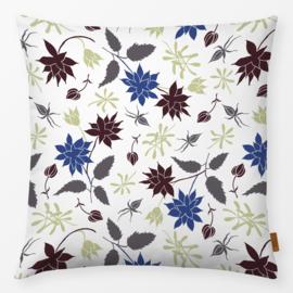 Sierkussen Bloemen & Bladeren Blauw/Paars