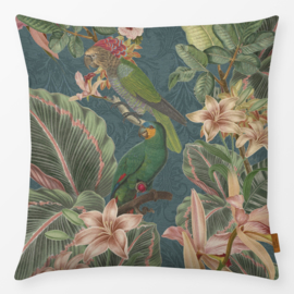 Sierkussen Retro Birds Jungle Multikleur/Turquoise