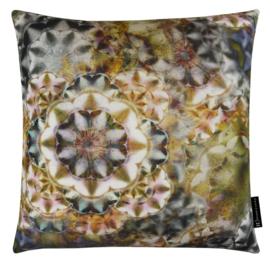 Sierkussen Kaleidoscope Grijs/Oker 50x50cm