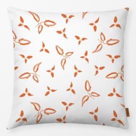 Sierkussen Bladeren Oranje/Wit