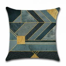 Sierkussen Lines Ruby Blauw/Goud/Groen 45x45cm