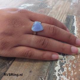 Moedermelk Ring Hart Blauw