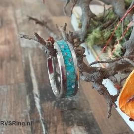Zilveren | RVS | Heren Ring | Turkoois