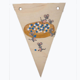 Naamslinger houten vlag beschuit met muisjes